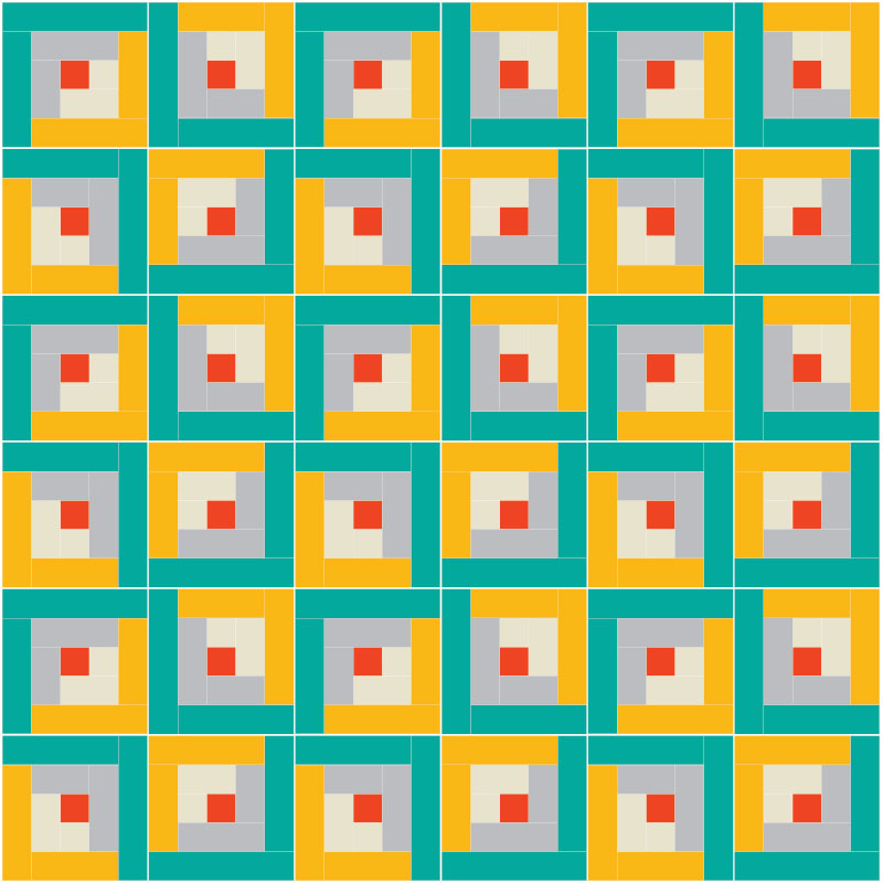 FREE Log Cabin Quilt Block Pattern! Design your own modern Log Cabin quilt block pattern based on the traditional design. See modern quilt inspiration!