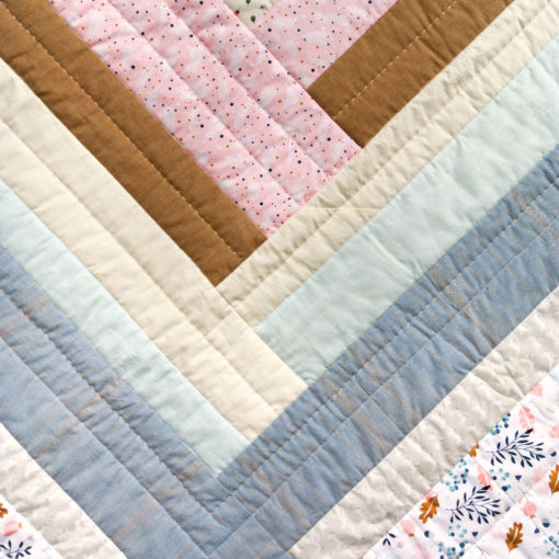 Handmade cotton, linen, chambray and wool quilt