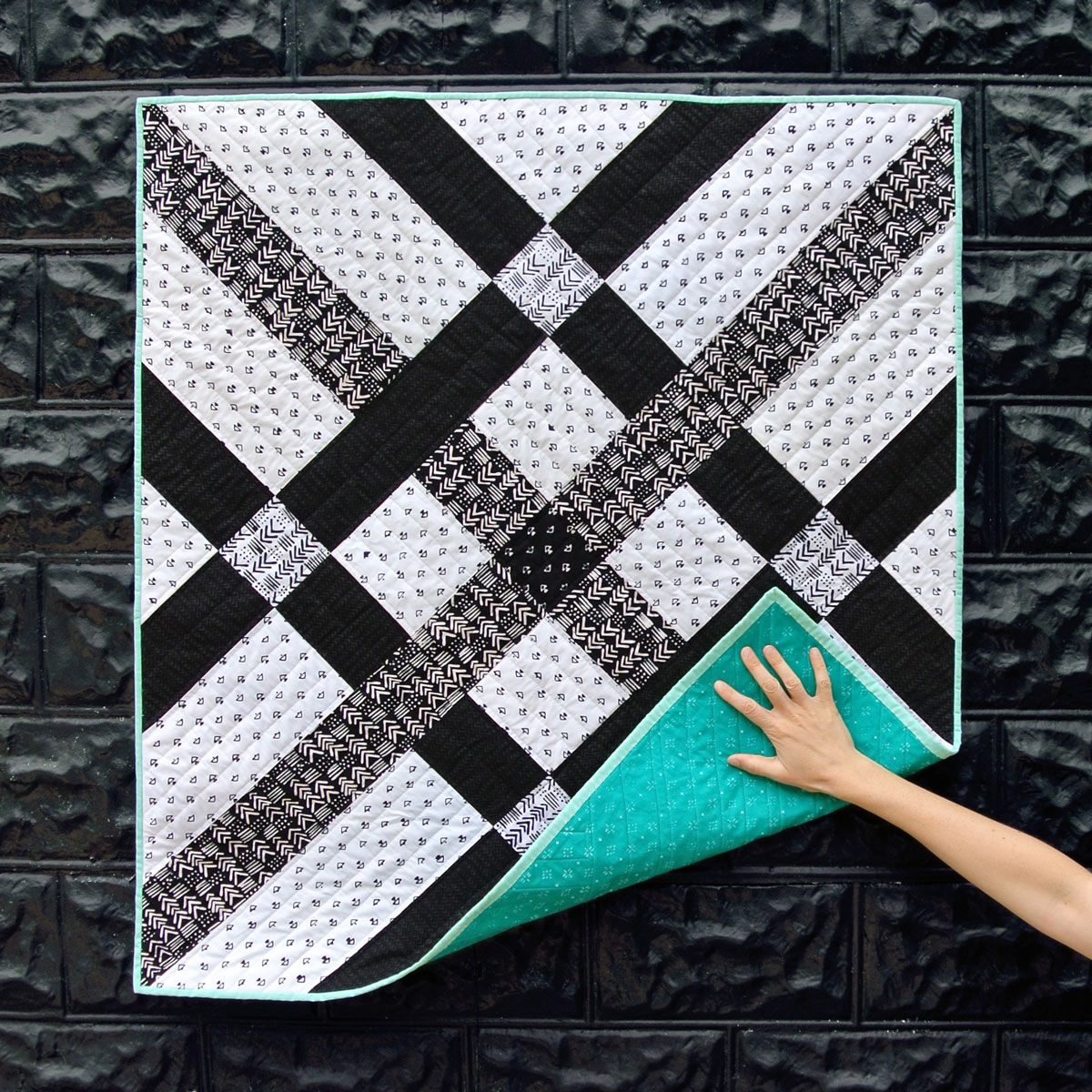 and patterns style modern rag quilt black baby white