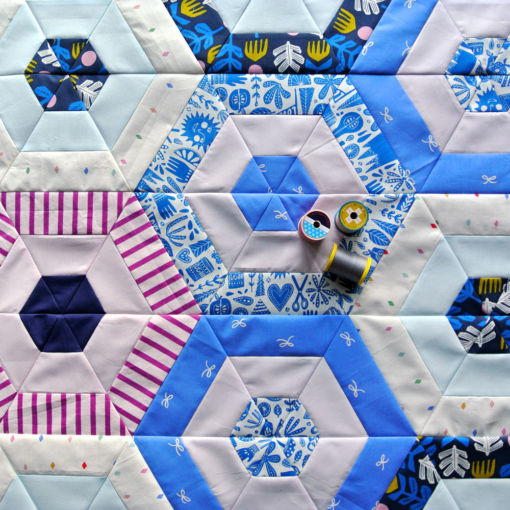 Periwinkle Hexie Quilt for sale