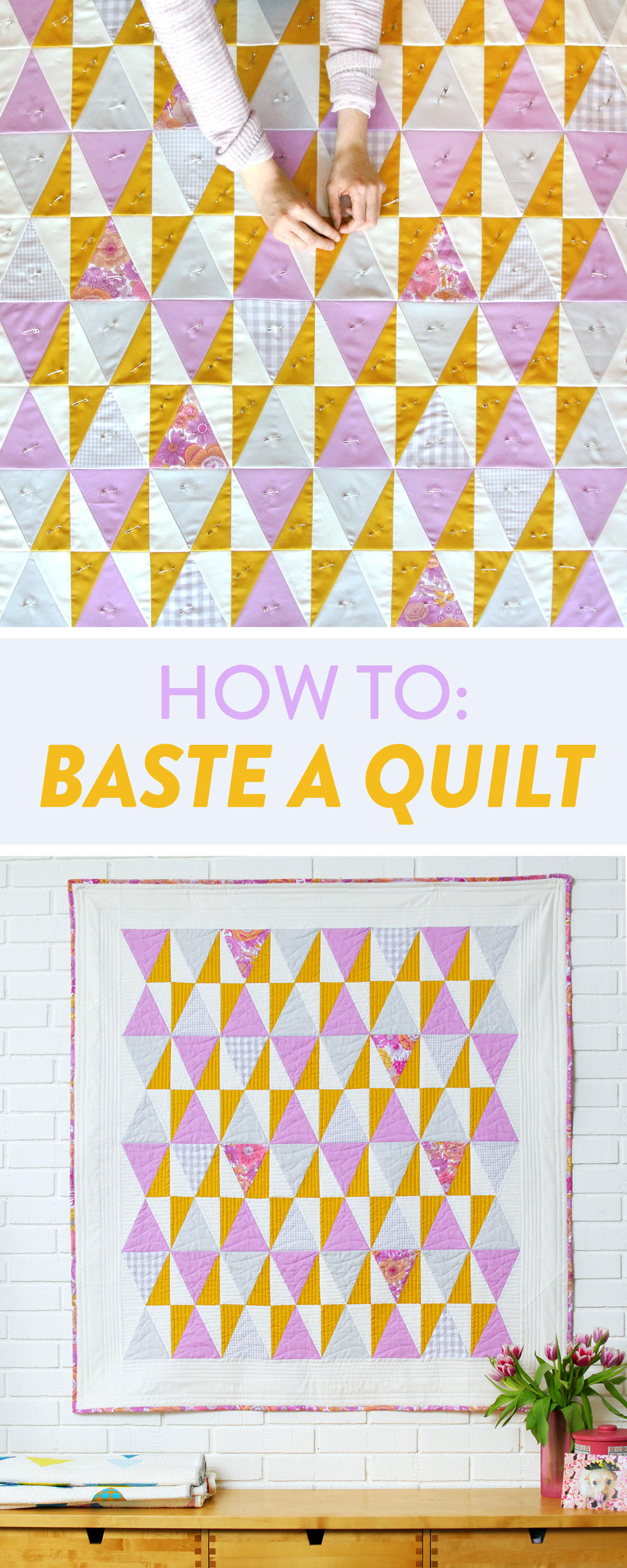 Learn how to baste a quilt 3 different ways including: how to pin baste, how to baste a quilt with boards, and how to spray baste | Suzy Quilts https://suzyquilts.com/how-to-baste-a-quilt