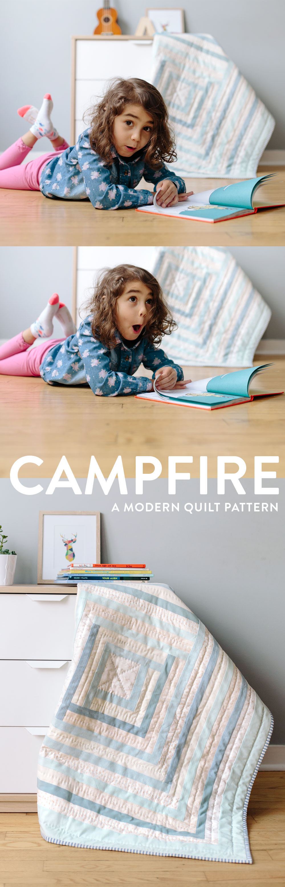 Campfire Modern Quilt Pattern PDF. A fresh interpretation of the traditional log cabin quilt block