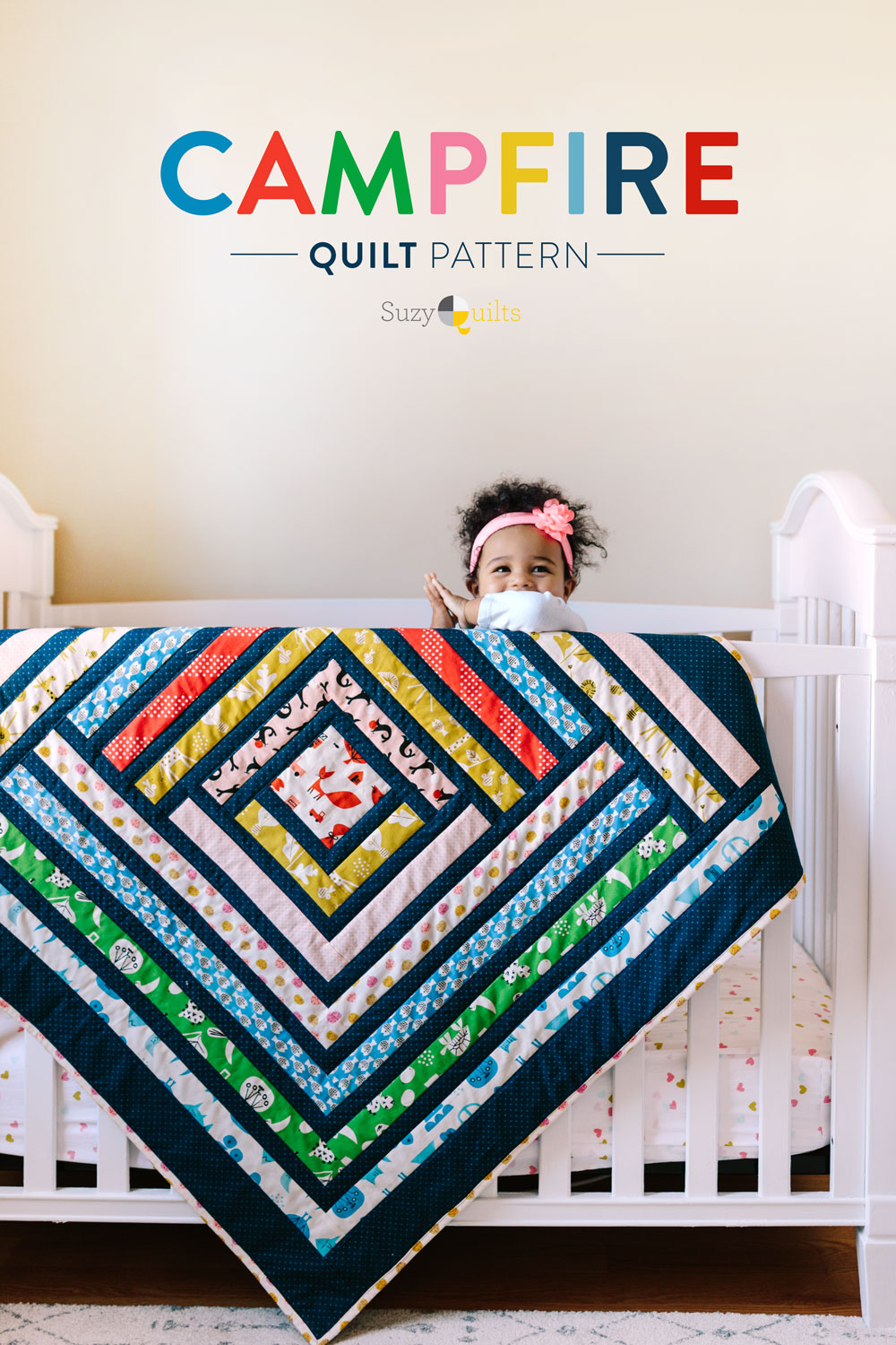 Campfire Modern Quilt Pattern PDF. A fresh interpretation of the traditional log cabin quilt block. | Suzy Quilts https://suzyquilts.com/campfire-quilt-pattern-tips-pics-fabric