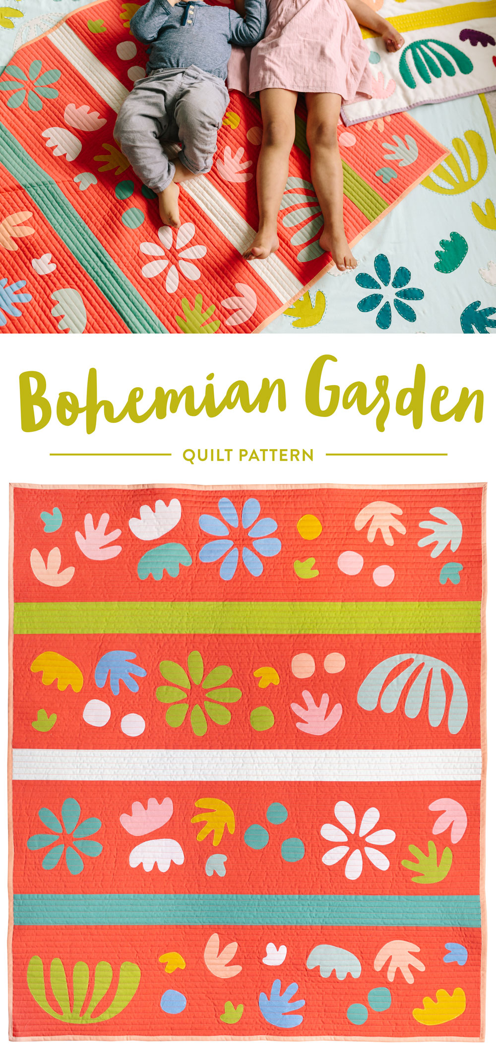 Get the Bohemian Garden quilt pattern – includes instructions for raw-edge applique