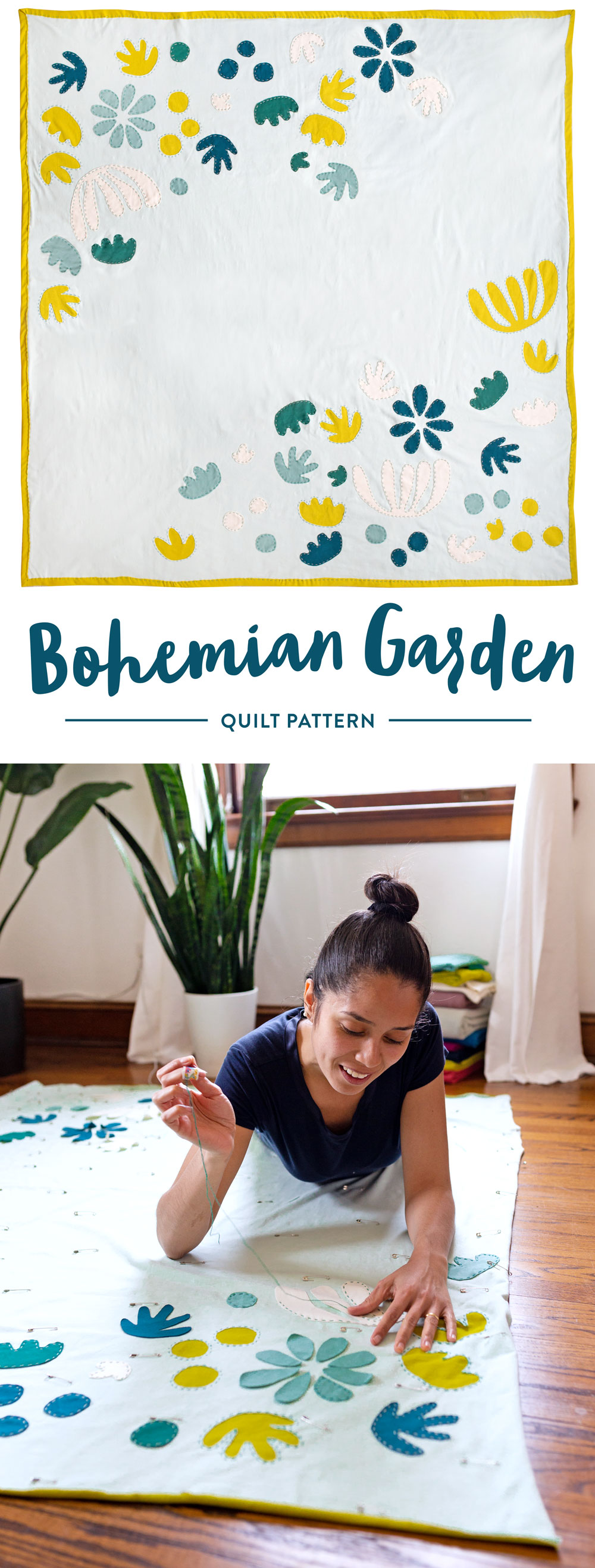 The Bohemian Garden quilt pattern includes three variations – one of them is a whole-cloth quilt!