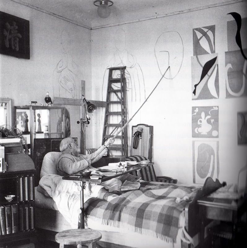In his later years, Henri Matisse did much of his work in bed due to failing health