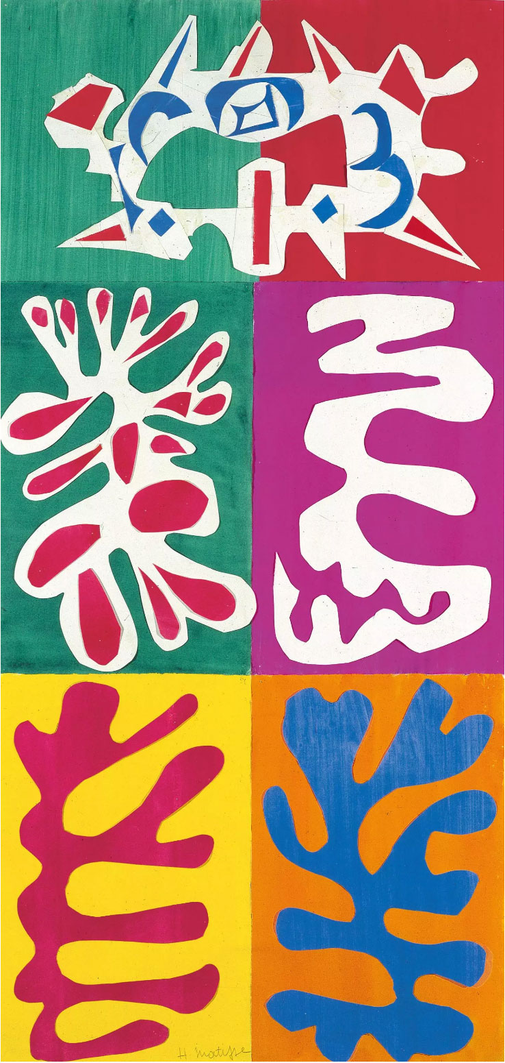 The paper cut-outs of Matisse display drama, excitement, and a strong contrast of bold colors.