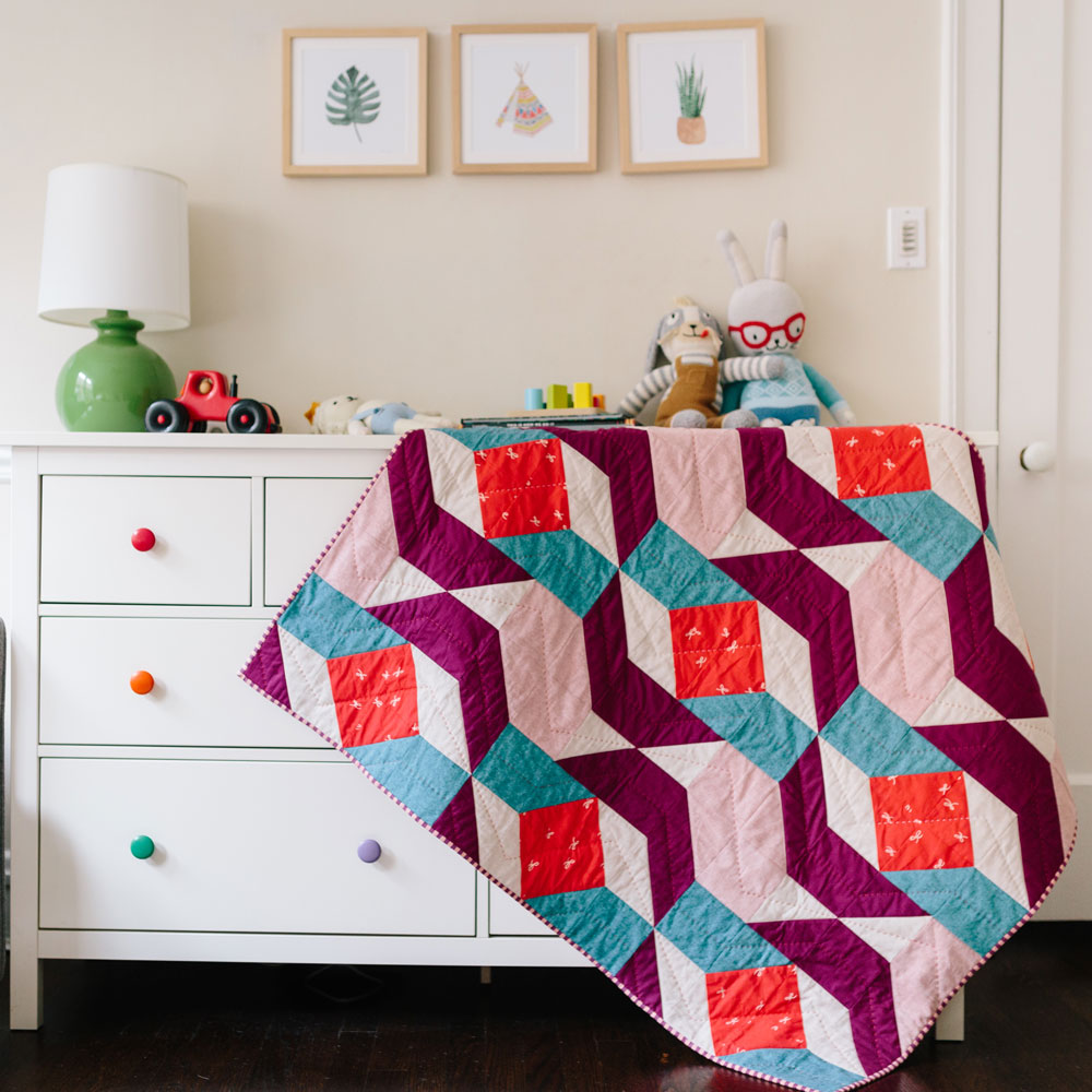 Color Pop Mid Century Modern Baby Quilt Suzy Quilts