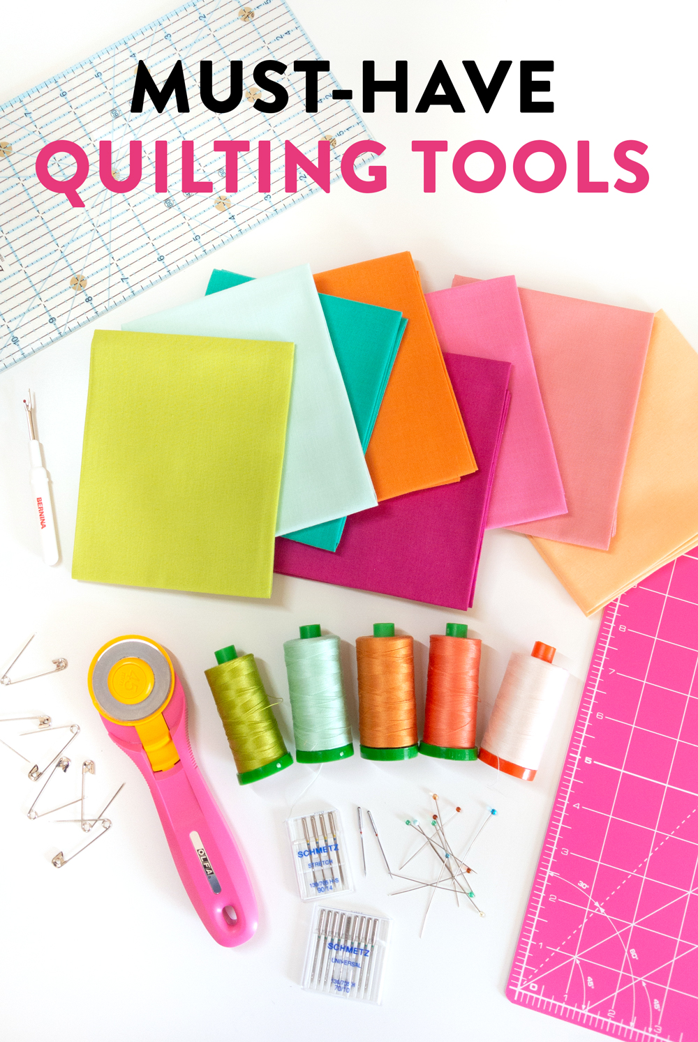 A checklist for the best must-have quilting tools. Great for beginners and also as gifts for quilters!