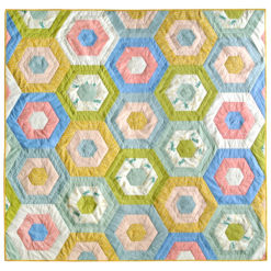 green spring hexies quilt for sale
