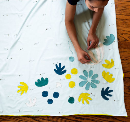 learn to hand sew this jersey Bohemian Garden wholecloth quilt