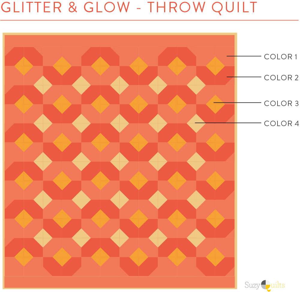 Pick fabric for the Glitter & Glow quilt pattern with this easy chart.