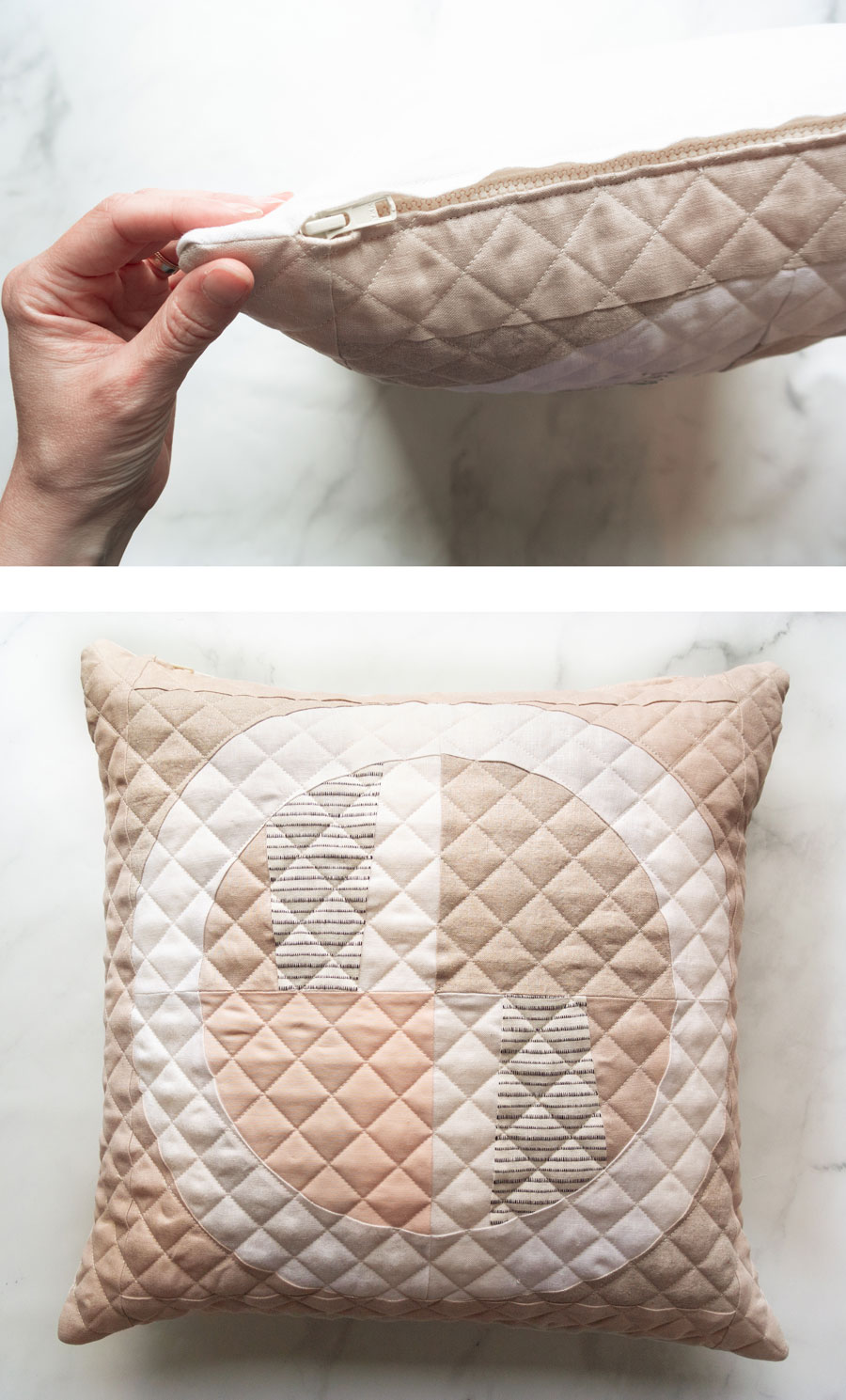 Sew a quilted zipper pillow with this step by step tutorial. I'll walk you through how to baste and quilt your pillow top, sew a zipper, and finish the pillow beautifully!