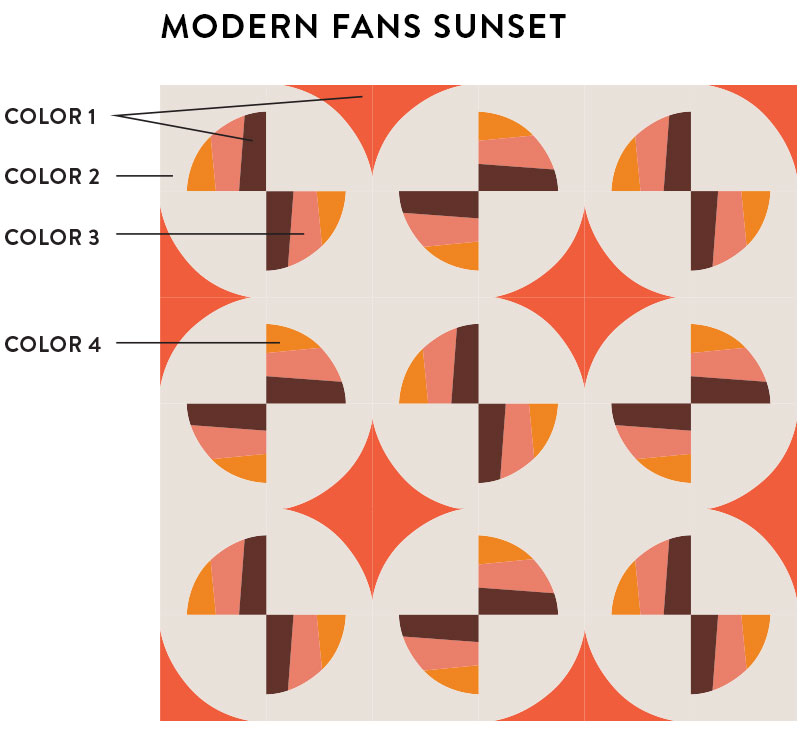 The Modern Fans quilt pattern comes in king, queen, twin, throw and baby quilt sizes. It's a great introduction into sewing curves because it includes lots of instructions and a video tutorial!