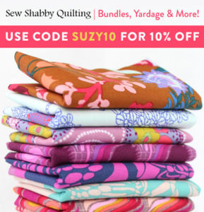 Get 10% off with coupon code Suzy10 at Sew Shabby Quilting