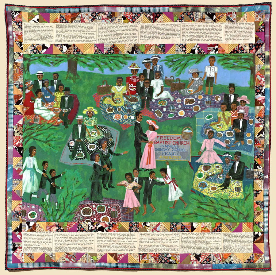 Faith Ringgold is an accomplished painter, writer, professor and quilter. By combining all of these things, she tells stories through painting in her quilts. This is titled Church Picnic