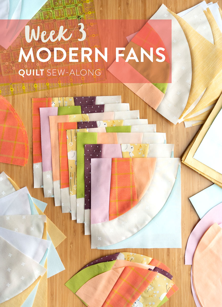 Join the Modern Fans quilt pattern sew-along for a chance to win a BERNINA 350 sewing machine along with other amazing prizes! This week we are sewing and trimming blocks. It includes a video tutorial on sewing curves. | Suzy Quilts https://suzyquilts.com/modern-fans-quilt-sew-along-week-3