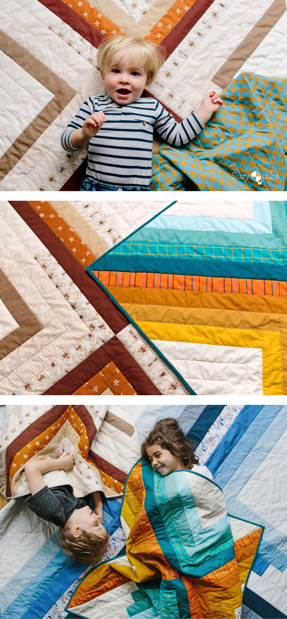 The Sugar POP quilt pattern is a PDF download that includes throw, baby and a pillow size. This modern design works well as a gradient or with fabric scraps. | Suzy Quilts https://suzyquilts.com/sugar-pop-quilt-pattern