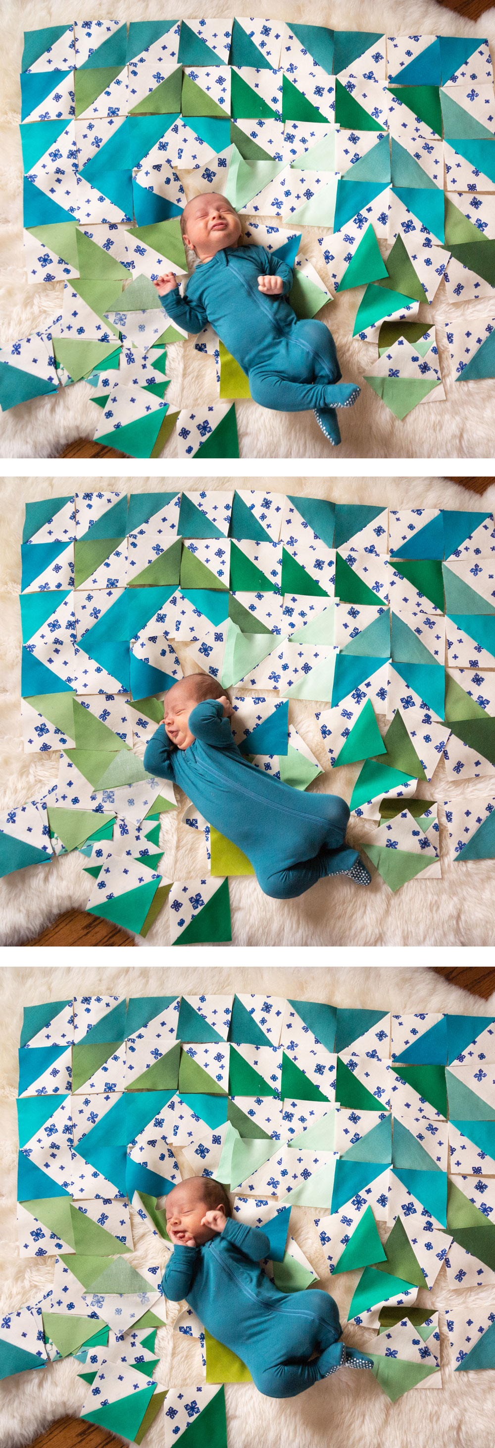 Make a Triangle Jitters quilt with 8 fat quarters! This is a beginner-friendly half square triangle pattern. Discover how to achieve this ombré effect with the exact fabrics I used!