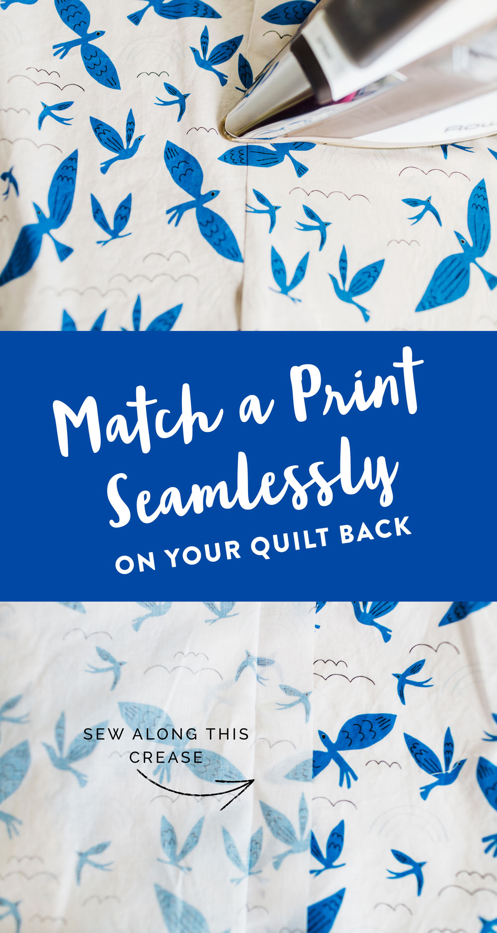 A complete step by step photo tutorial on how to match a print seamlessly. In this example we match a fabric print for quilt backing. Beginner friendly!