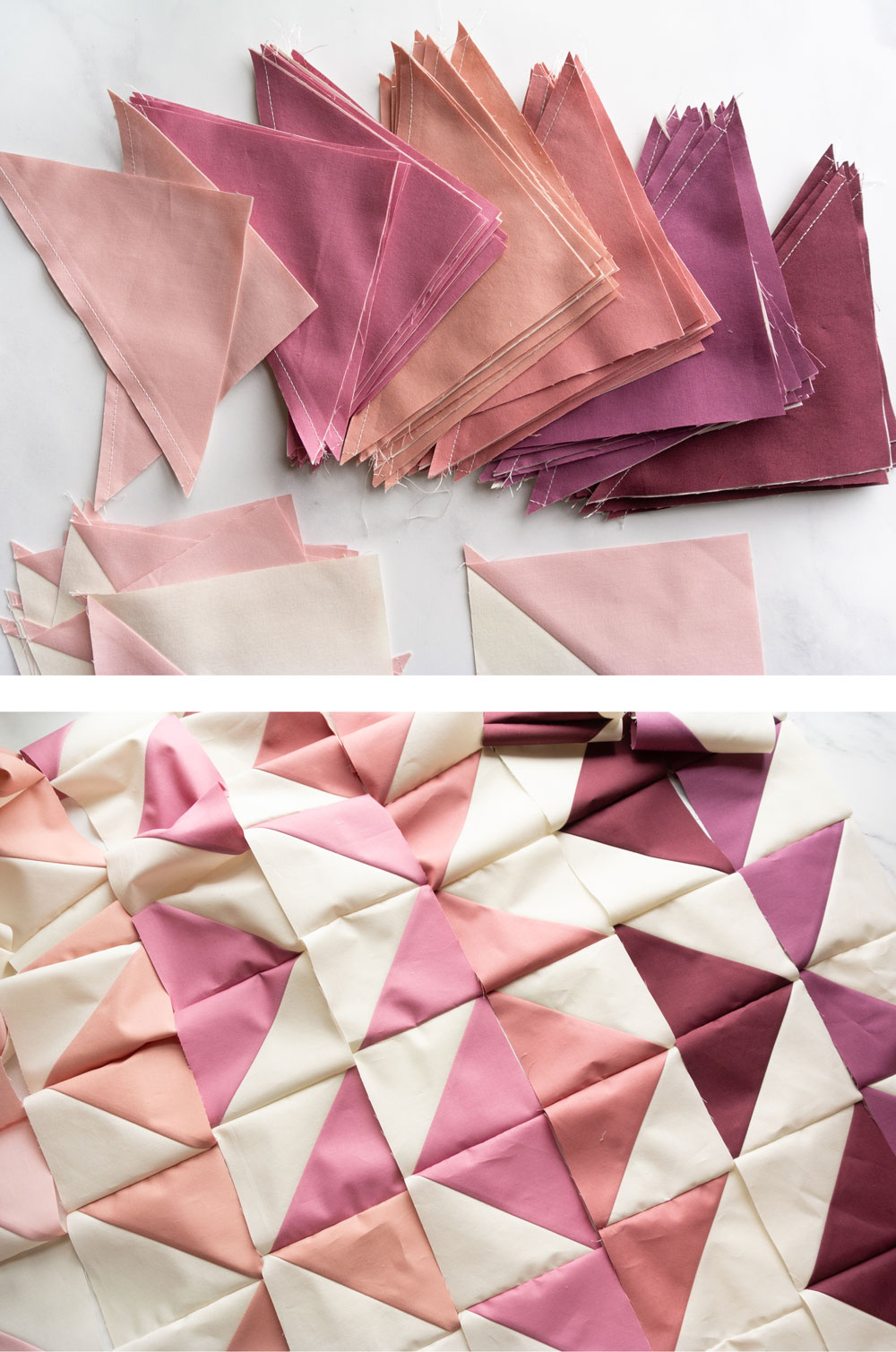 Change your favorite quilt pattern into an ombré quilt by converting yardage into fat quarters. Included is a half square triangle conversion chart and tutorial! | Suzy Quilts #halfsquaretriangle  #modernquilts #ombrequilt