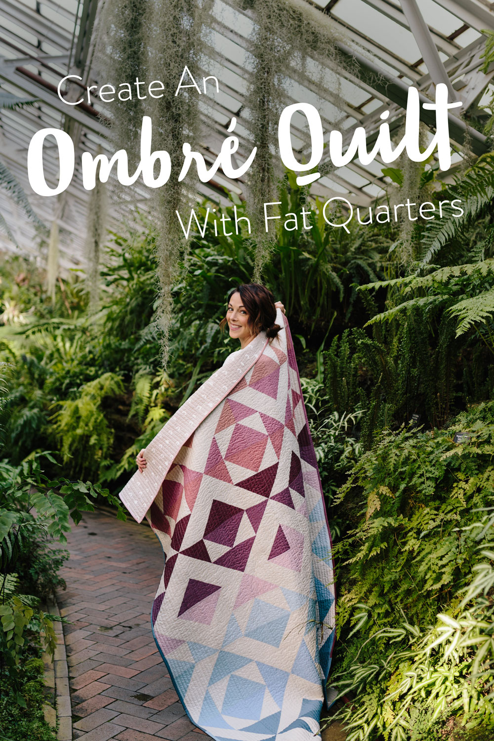 Change your favorite quilt pattern into an ombré quilt by converting yardage into fat quarters. Included is a half square triangle conversion chart and tutorial! | Suzy Quilts #halfsquaretriangle  #quilt #ombrequilt