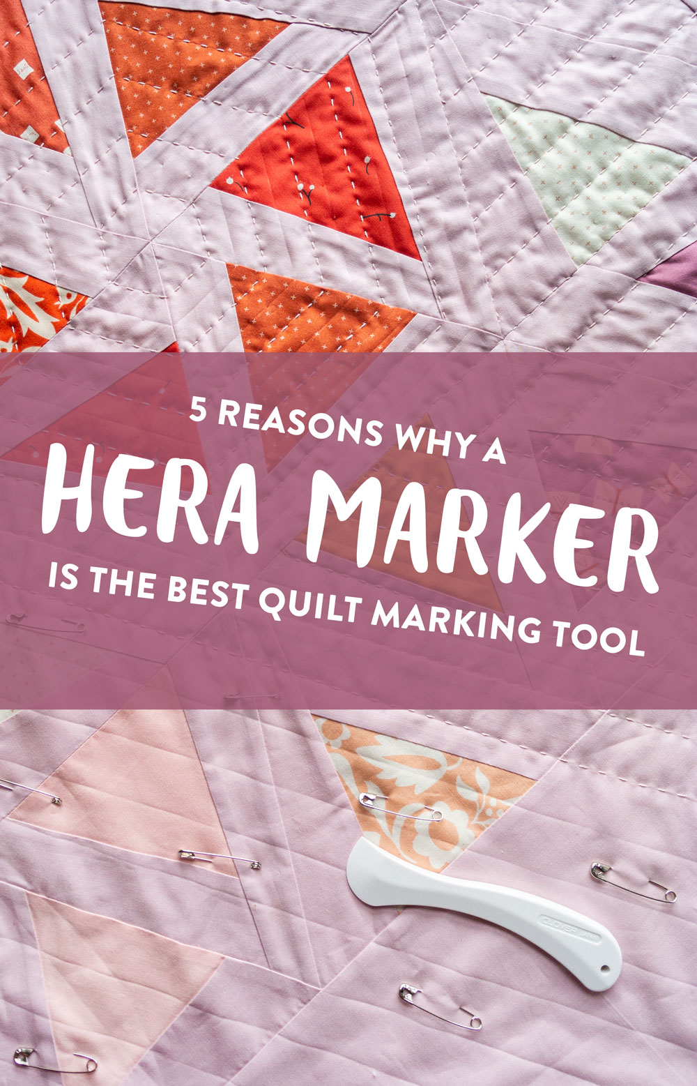 A hera marker is ideal for marking guide lines on your quilt because it only makes creases and not actual marks. Watch a video tutorial on how to use it! SuzyQuilts.com #quiltingtips #quiltingtools