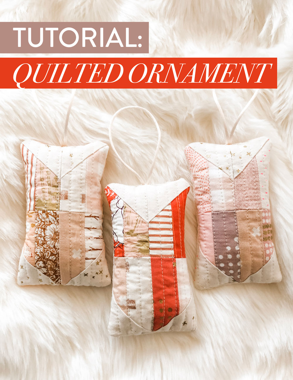 A step by step photo tutorial on how to make a modern quilted ornament. This free tutorial scales down a Tail Feather quilt block. Beginner friendly!