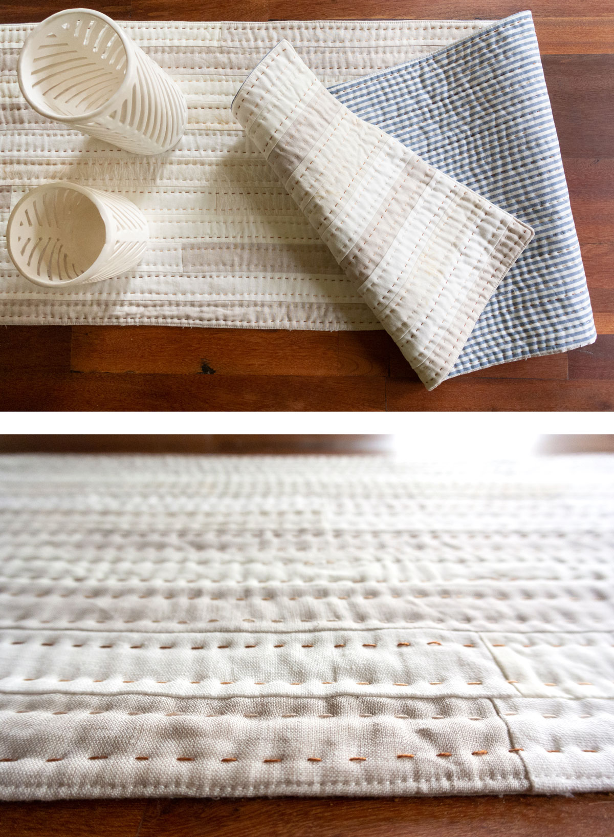 5 Small and Inexpensive DIY Sewing Christmas Gifts! Make a quilted table runner with this free tutorial. suzyquilts.com #quiltedtablerunner #ChristmasDIY