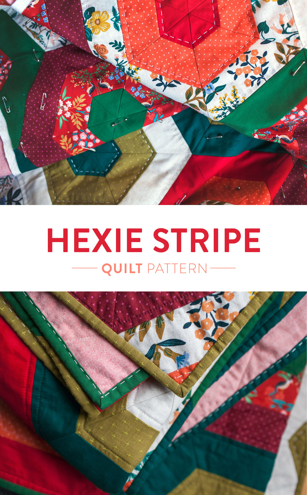 It's easy to get in the holiday spirit and get your Christmas quilting done with a pattern like Hexie Stripe. It's a vintage design with a modern twist! To make a throw all you need are 9 different 1/2 yd. cuts of fabric. Mix red and green solids with some floral prints for a beautifully festive quilt! suzyquilts.com #christmasquilt #diychristmas