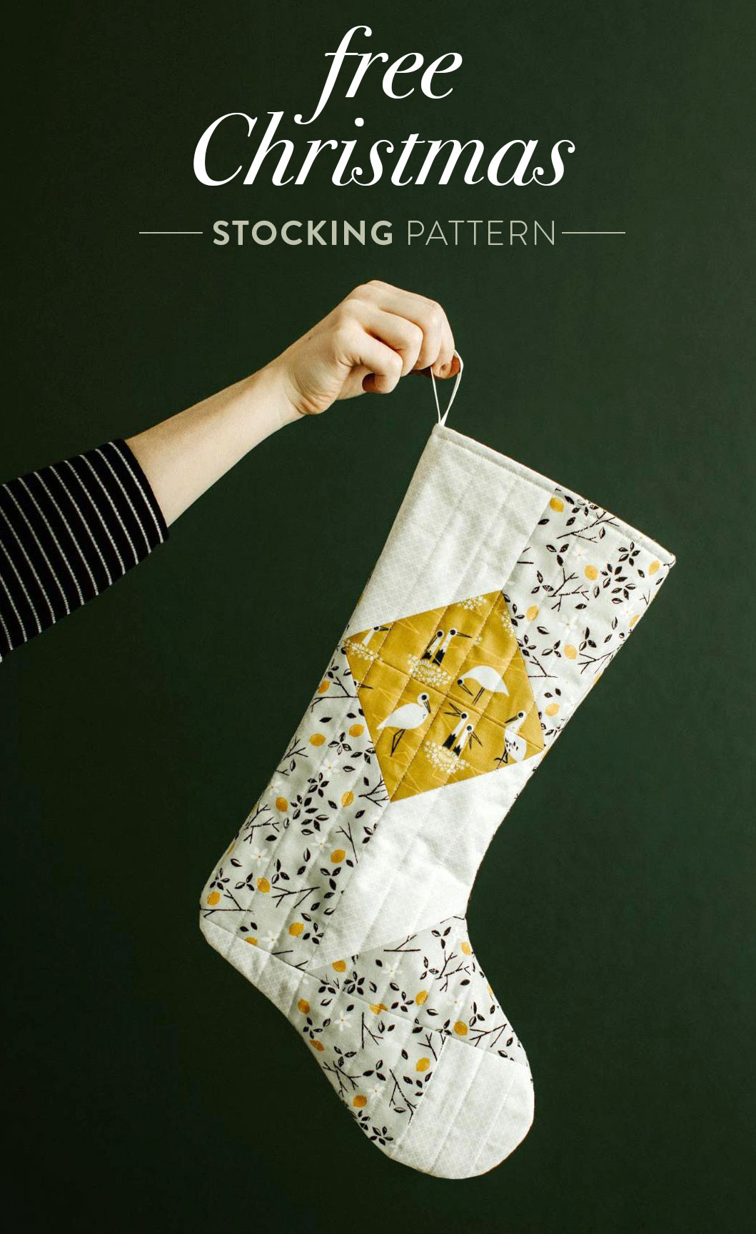 A free quilted Christmas stocking pattern right in time for the holidays! Sew a simple, modern stocking with this step by step tutorial. suzyquilts.com #christmasstocking