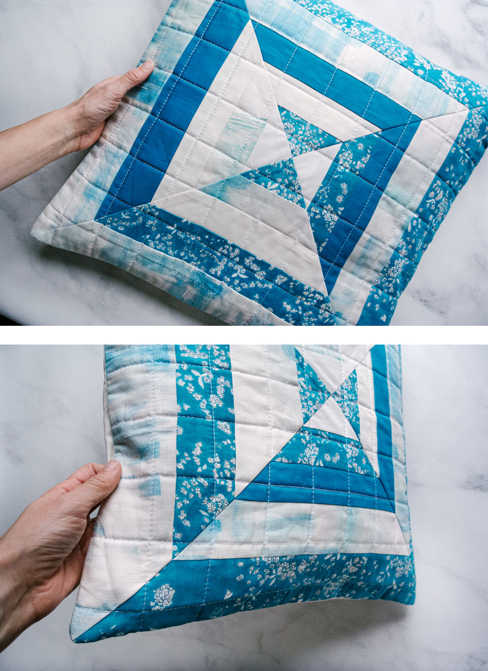 The Reflections pillow is a very fast project that is perfect for using scraps of fabric! This modern quilt pattern includes instructions for an 18-inch pillow and a 30-inch wall hanging. suzyquilts.com #quiltpattern