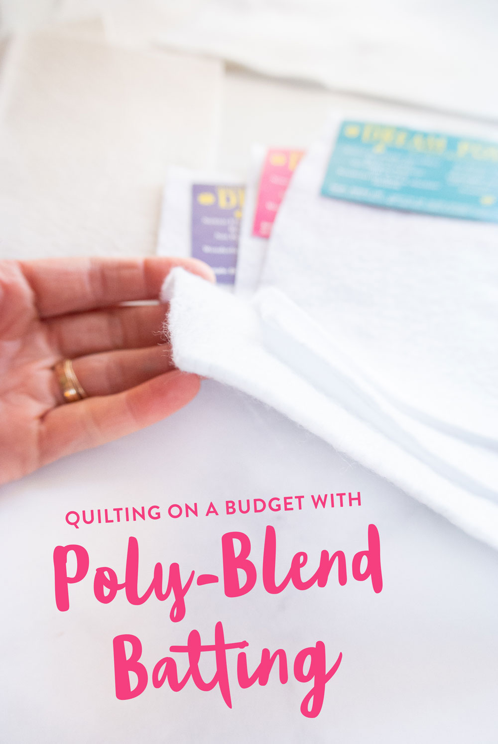Quilting on a budget is something we all think about, but don't always know how to do. One great way to save money is to use a poly-blend batting! These inexpensive batting options are durable, using to use and come in a variety of colors, lofts and sizes. | suzyquilts.com #quilttutorial