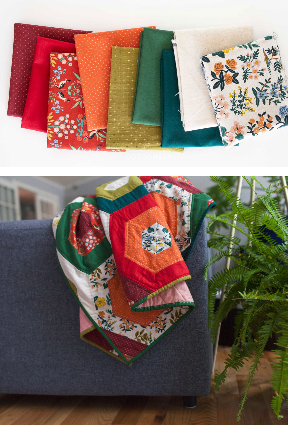 It's easy to get in the holiday spirit and get your Christmas quilting done with a pattern like Hexie Stripe. It's a vintage design with a modern twist! To make a throw all you need are 9 different 1/2 yd. cuts of fabric. Mix red and green solids with some floral prints for a beautifully festive quilt! suzyquilts.com #christmasquilt #handmadechristmas