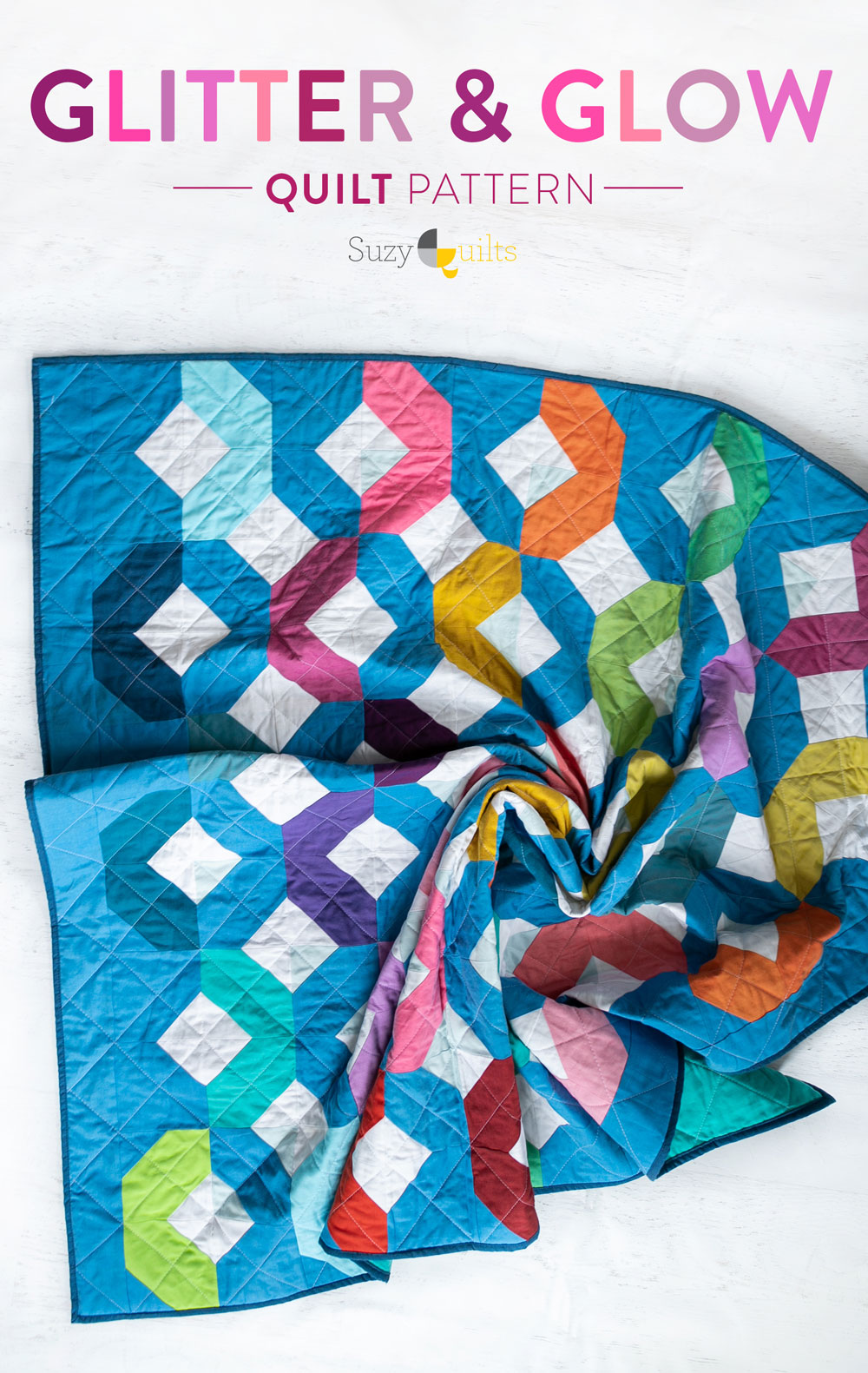 Make a Rainbow Quilt using this simple alteration to the Glitter & Glow quilt pattern. This is fat quarter friendly and great for newbie quilters and beginners. suzyquilts.com #rainbowquilt #rainbowbaby
