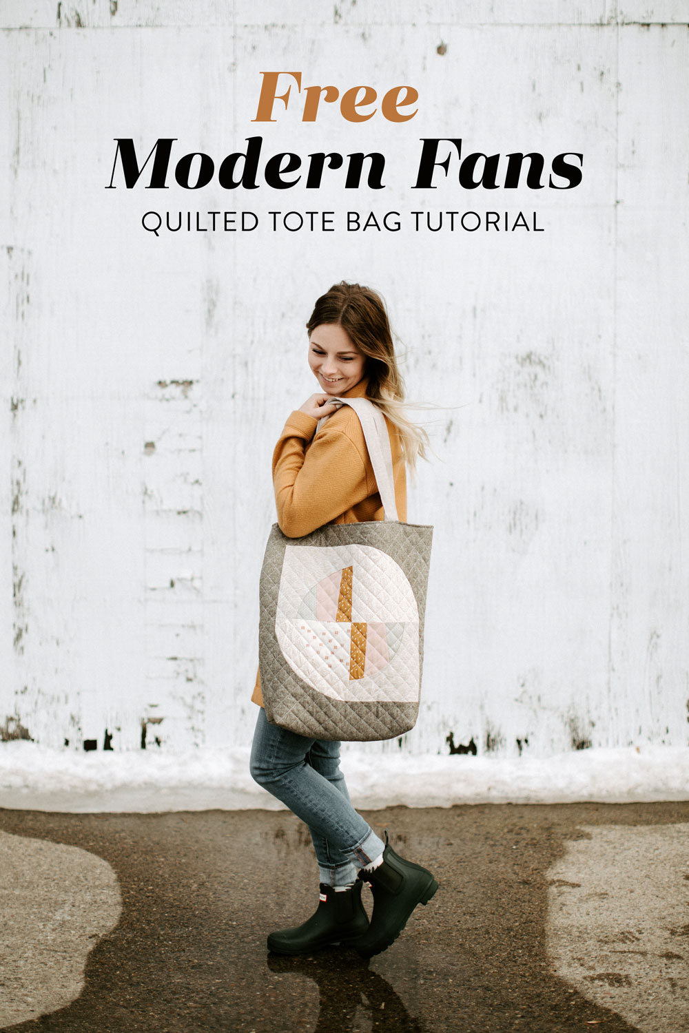 This FREE quilted tote bag tutorial shows step by step how to create a large tote bag using the Modern Fans quilt block pattern. suzyquilts.com #freepattern