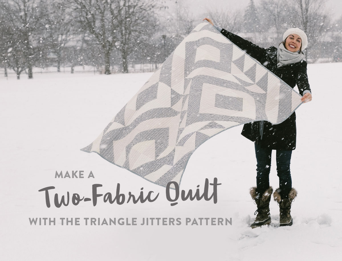 Elevate any quilt pattern to pure elegance by making it a two-fabric quilt. This neutral Triangle Jitters quilt uses cream scraps and a simple stripe. suzyquilts.com #modernquilt