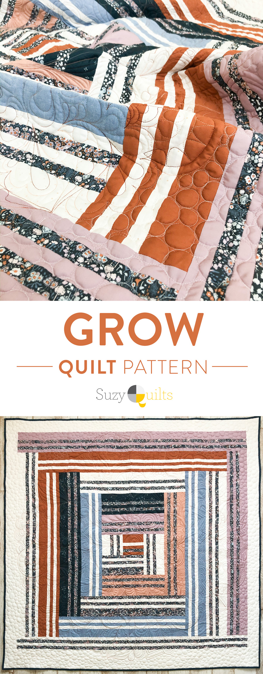 Grow is the first design in a series of four quilts that represent the four seasons in a year, as well as seasons in our lives. It includes fabric requirements and instructions for king, queen/full, twin, throw, and baby quilt sizes. This is an elegant modern medallion quilt. suzyquilts.com #modernquilting