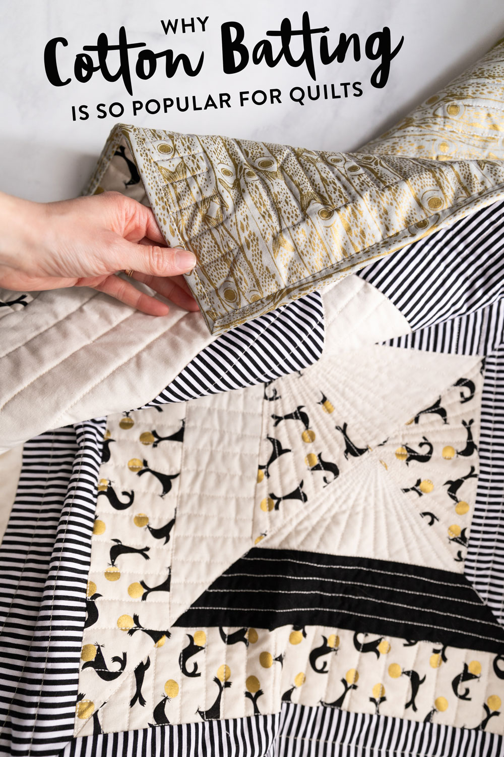 Cotton Batting is the most popular batting choice for quilters for a lot of reasons. Read tips for sewing with it and the best brands. suzyquilts.com #quilting #sewingtutorial