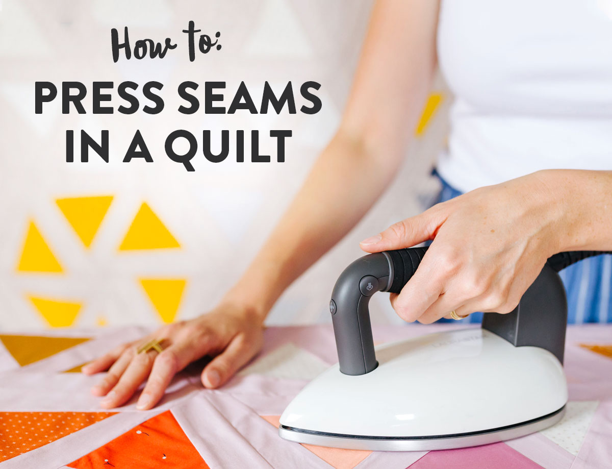 Learn how to press seams in a quilt. Included is a video tutorial and links to the best tools to use. suzyquilts.com #quilting #quilttutorial