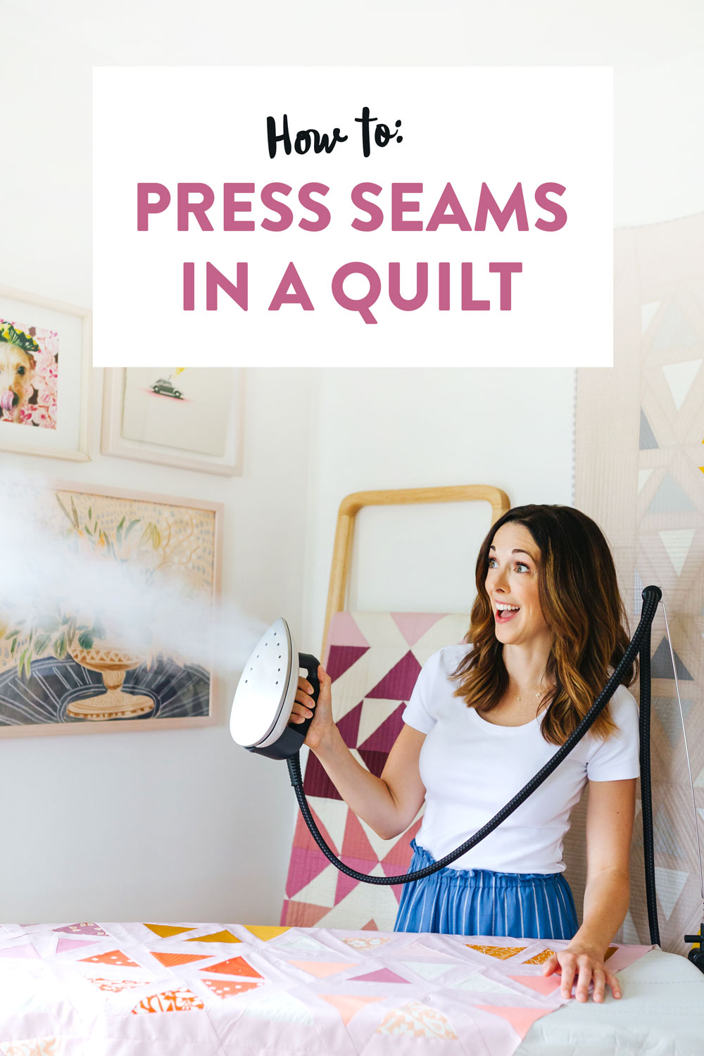 Learn how to press seams in a quilt. Included is a video tutorial and links to the best tools to use. suzyquilts.com #quilting #suzyquilts