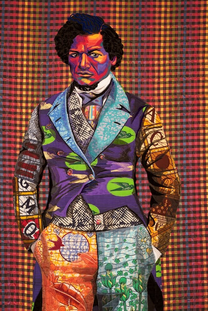 Bisa Butler is an American fiber artist who makes life-sized quilt portraits retelling African American history through fabric and texture. suzyquilts.com #fiberart