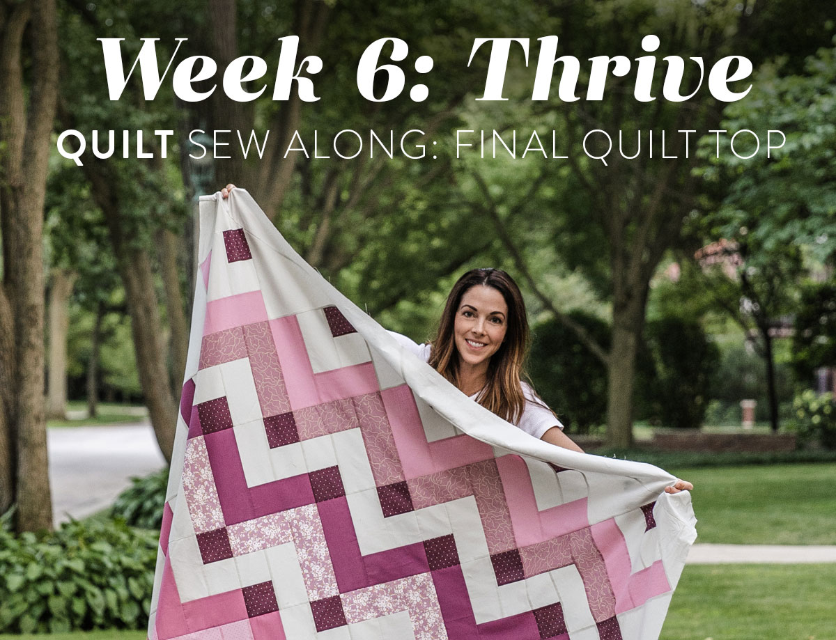 In the final week of the Thrive sew along we sew the finished quilt top. Included is a video tutorial on how to trim and square up your corners! suzyquilts.com #quilting #quiltpattern