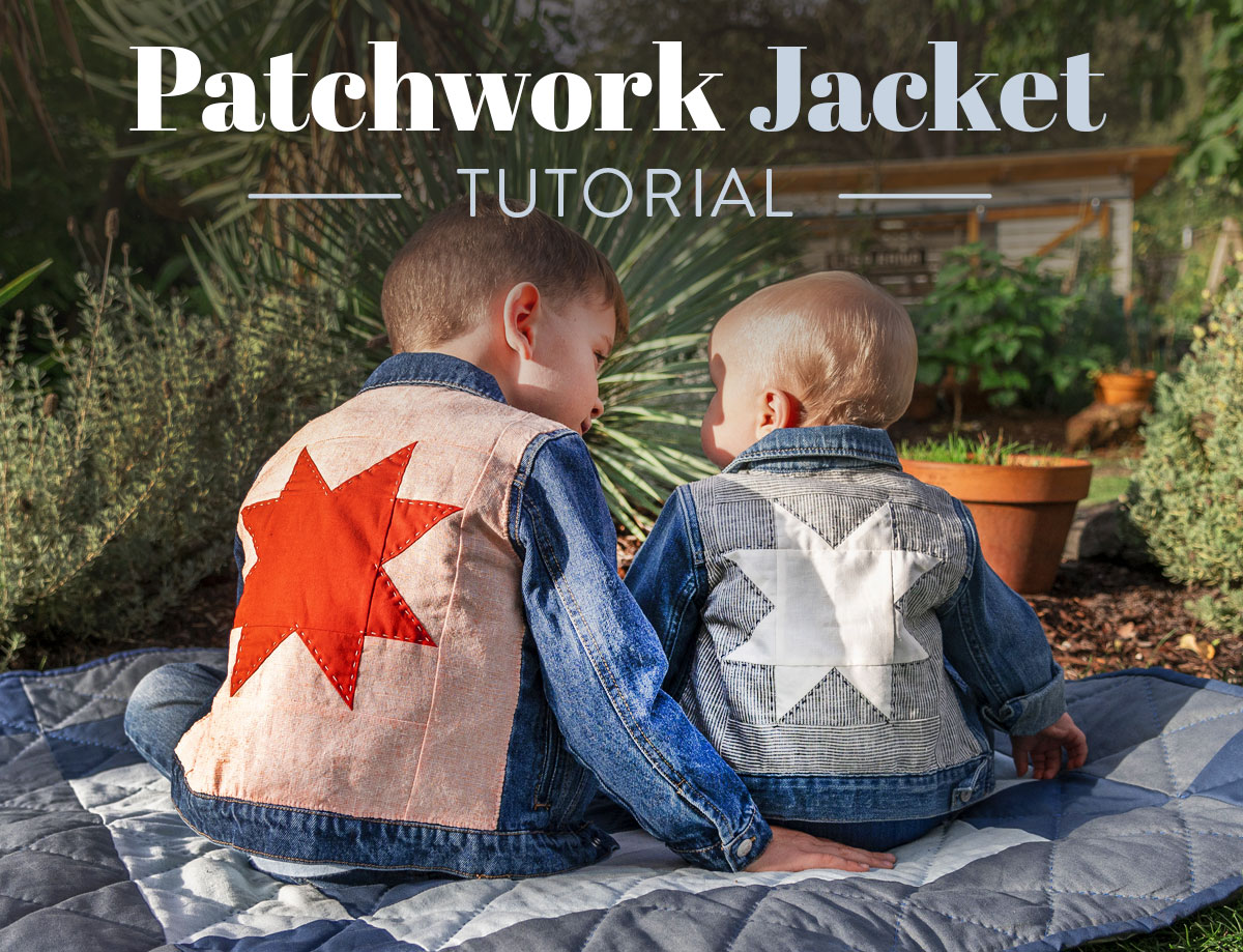 This simple patchwork jacket tutorial is the perfect way to breathe new life into old clothes. Upcycle denim or old clothing to make quilted clothing! suzyquilts.com #upcycleclothes #patchworkjacket