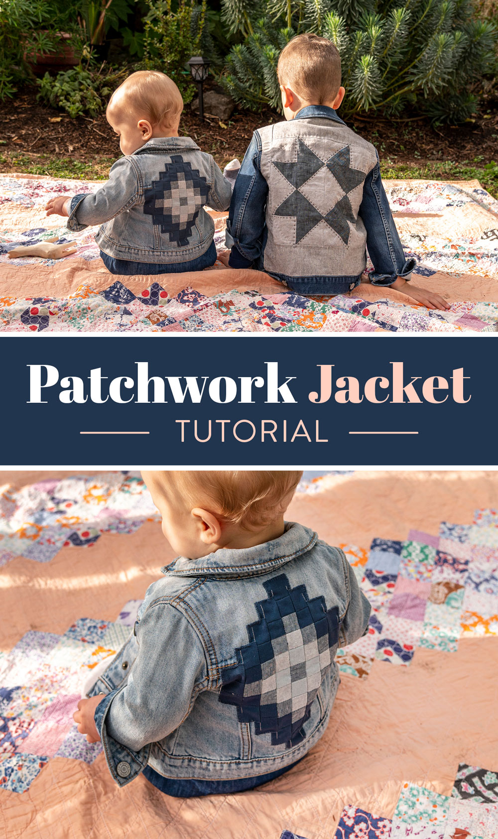 This simple patchwork jacket tutorial is the perfect way to breathe new life into old clothes. Upcycle denim or old clothing to make quilted clothing! suzyquilts.com #upcycleclothing #patchworkjacket