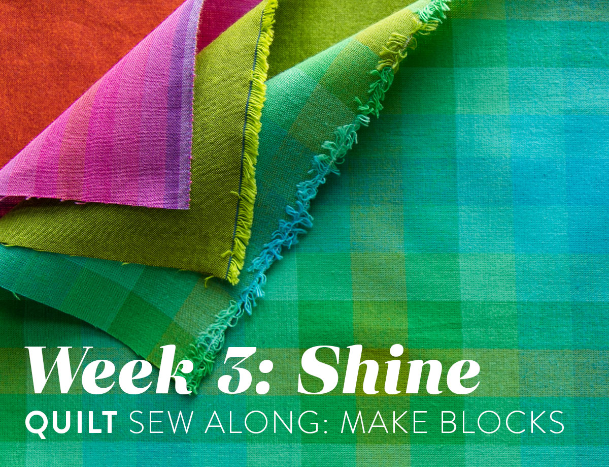 The Shine quilt sew along includes lots of added tips and videos to help you make this modern quilt pattern. This fat quarter quilt pattern is beginner friendly and focuses on improv sewing. suzyquilts.com #modernquilt #qal