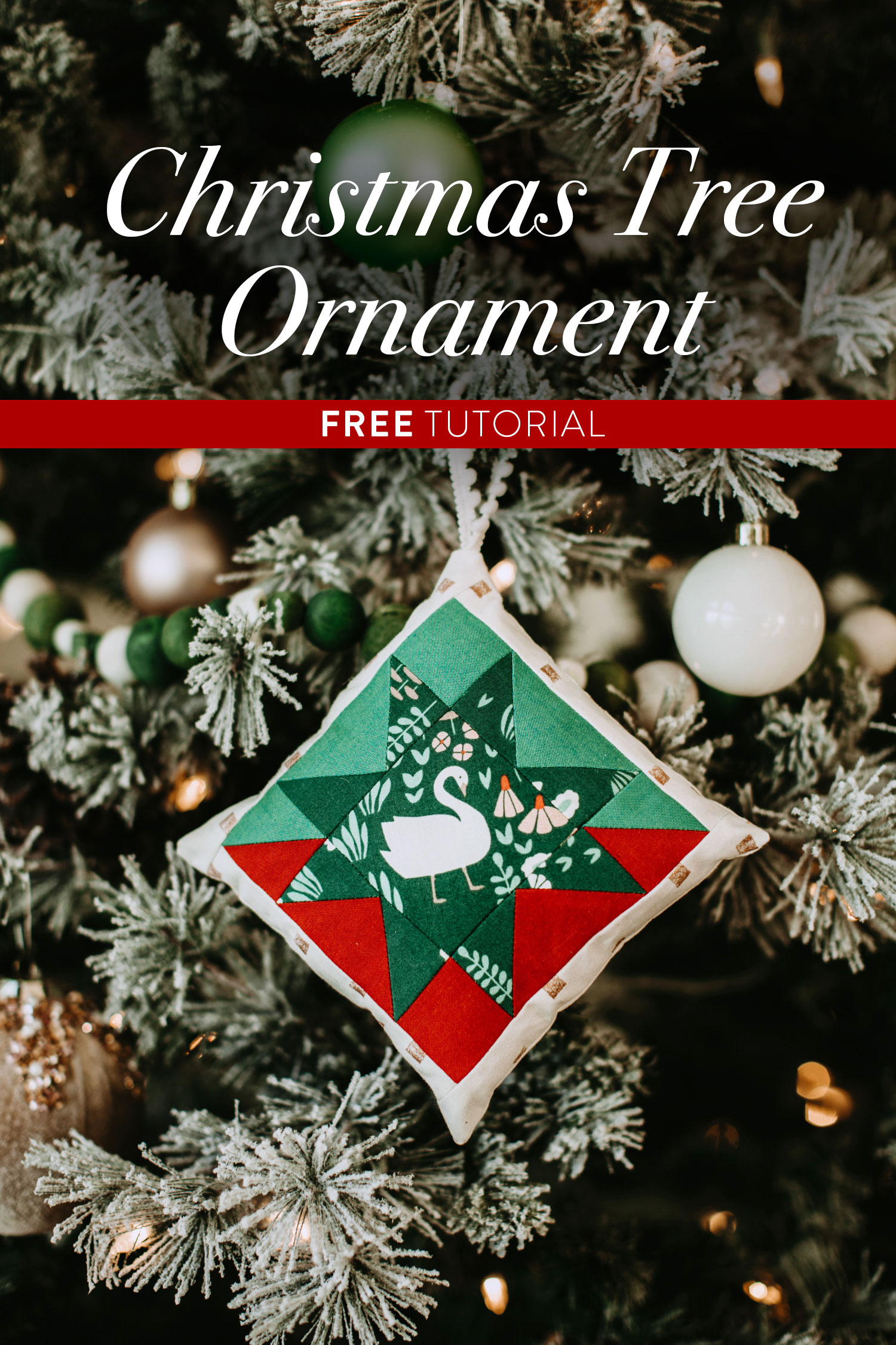 This Christmas Tree Ornament Tutorial walks you through an easy DIY project based on the Stars Hollow Quilt pattern by Suzy Quilts | suzyquilts.com #christmasornament #DIYornament