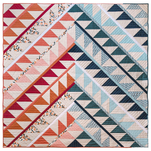 The Gather quilt pattern is a modern HST quilt in digital PDF download format. It includes queen, twin, throw and baby quilt sizes. suzyquilts.com #quiltpattern