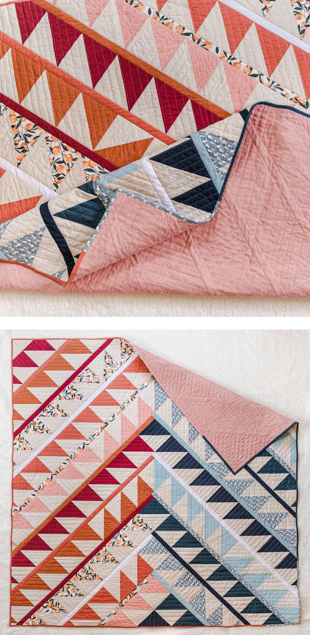 Gather is an HST modern quilt pattern with a unique twist! This instant PDF download comes in queen, twin, throw and baby quilt sizes. suzyquilts.com #quiltpattern