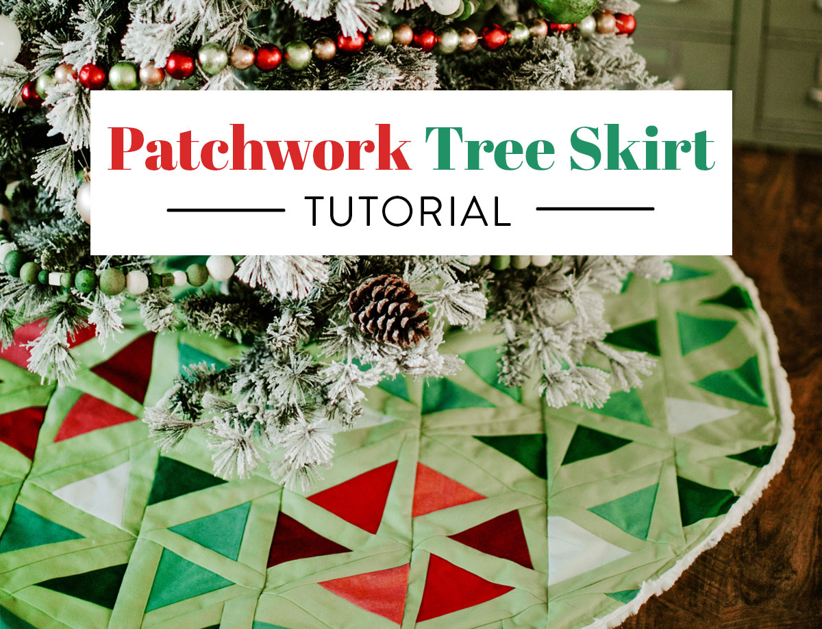 This free patchwork tree skirt tutorial uses a modern quilt pattern to create a beautiful DIY tree skirt! suzyquilts.com #treeskirt #DIYsewing
